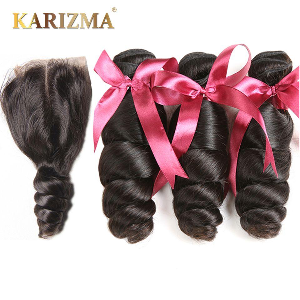 Karizma Brazilian Hair Weave 3 Bundles With Lace Closure Middle Part Loose Wave Human Hair Bundles 4Pcs/lot Non-remy Hair
