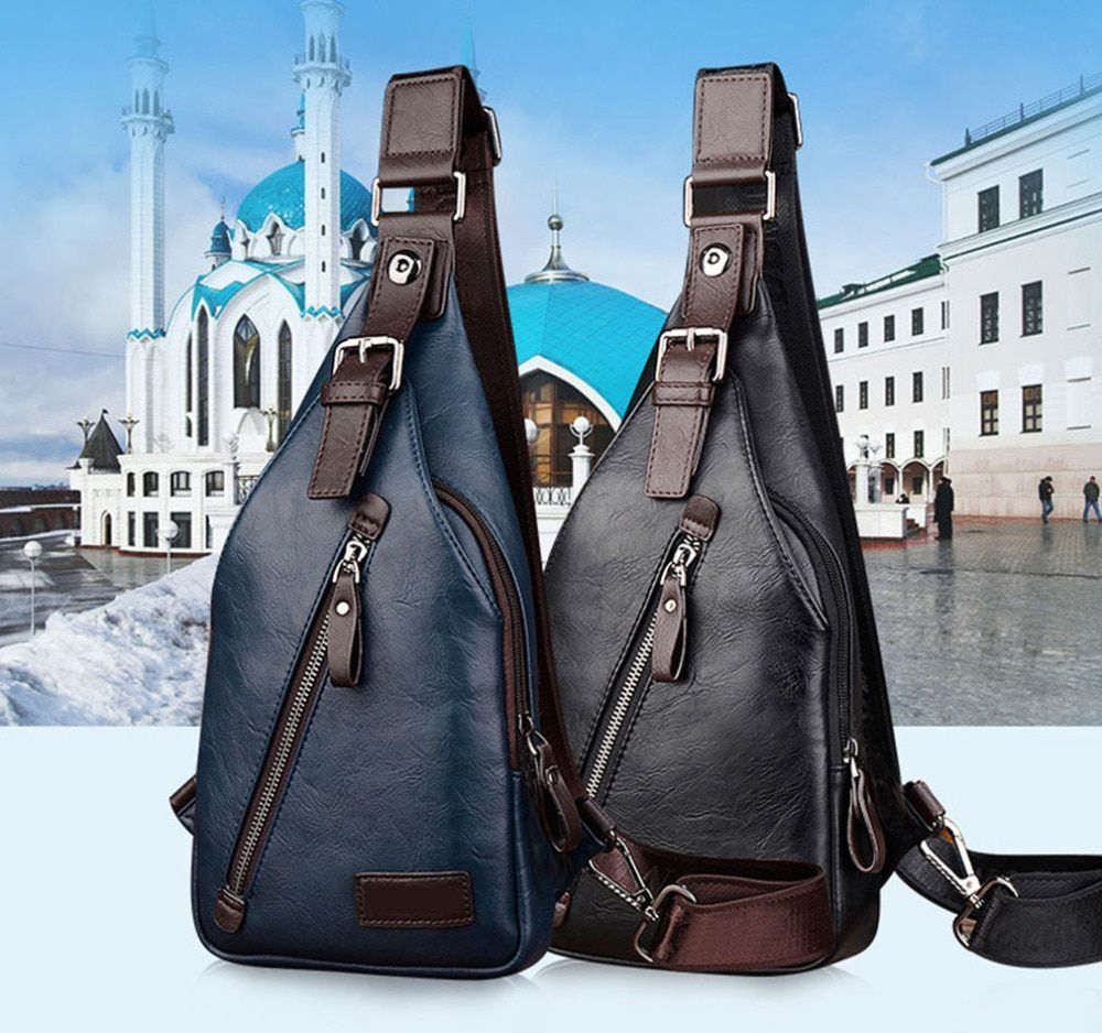 Men PU Leather Vintage Fashion Sling Chest Bag Travel Cross Body Messenger Small Male Shoulder Bag Anti-Theft Casual <font><b>Packs</b></font>