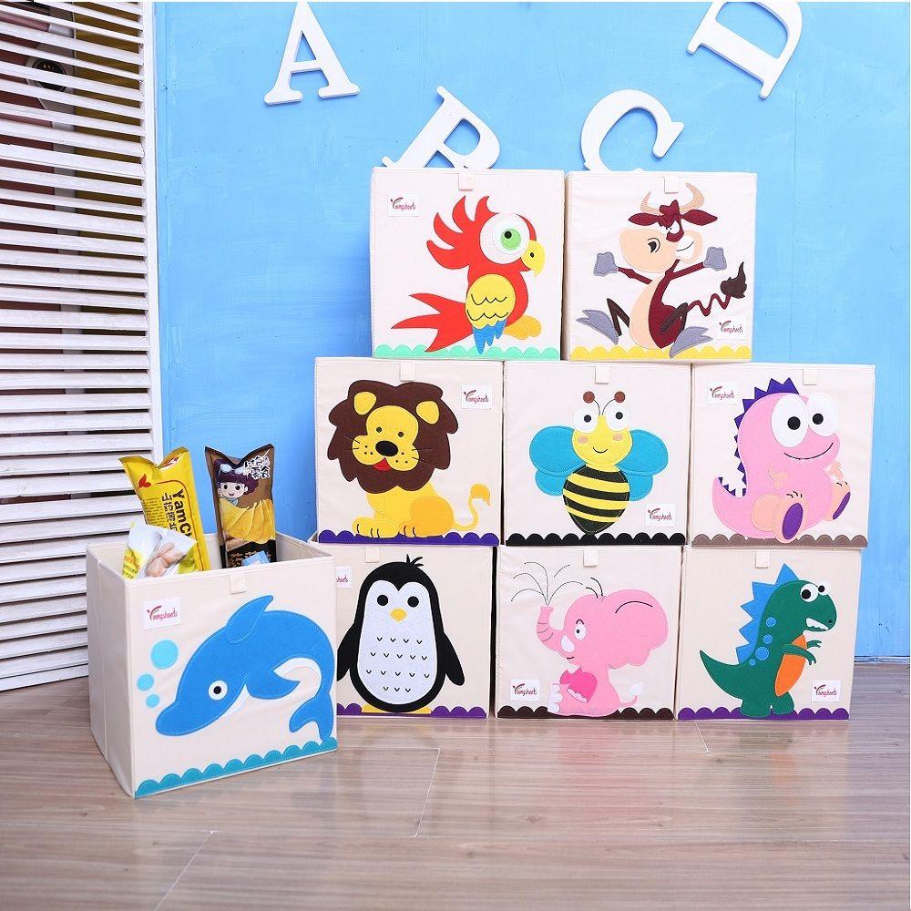 New 3D Cartoon Animal Embroidery Folding Storage Box Washed Oxford Cloth Wardrobe storage bag kid toys organizer 33*33*33CM bins