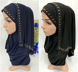 Fashion Rhinestone Women Lady Muslim Wrap Style Hijab Islamic Scarf Arab Shawls Headwear