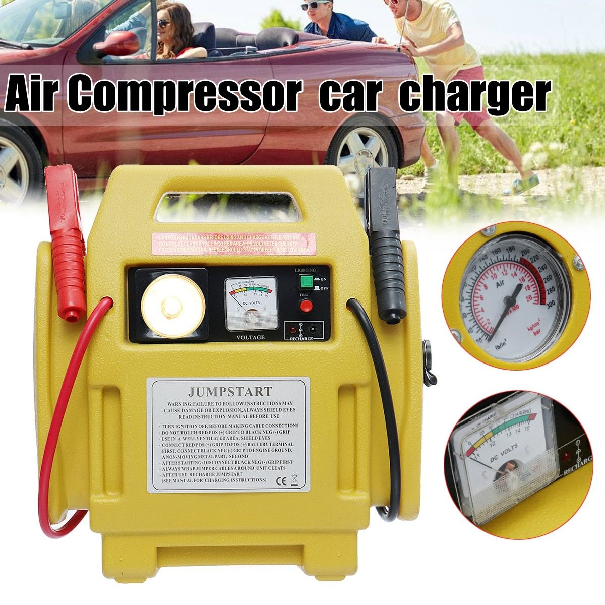 Portable 12V Car Jump Starter Battery Start Booster Charger Leads Air Compressor