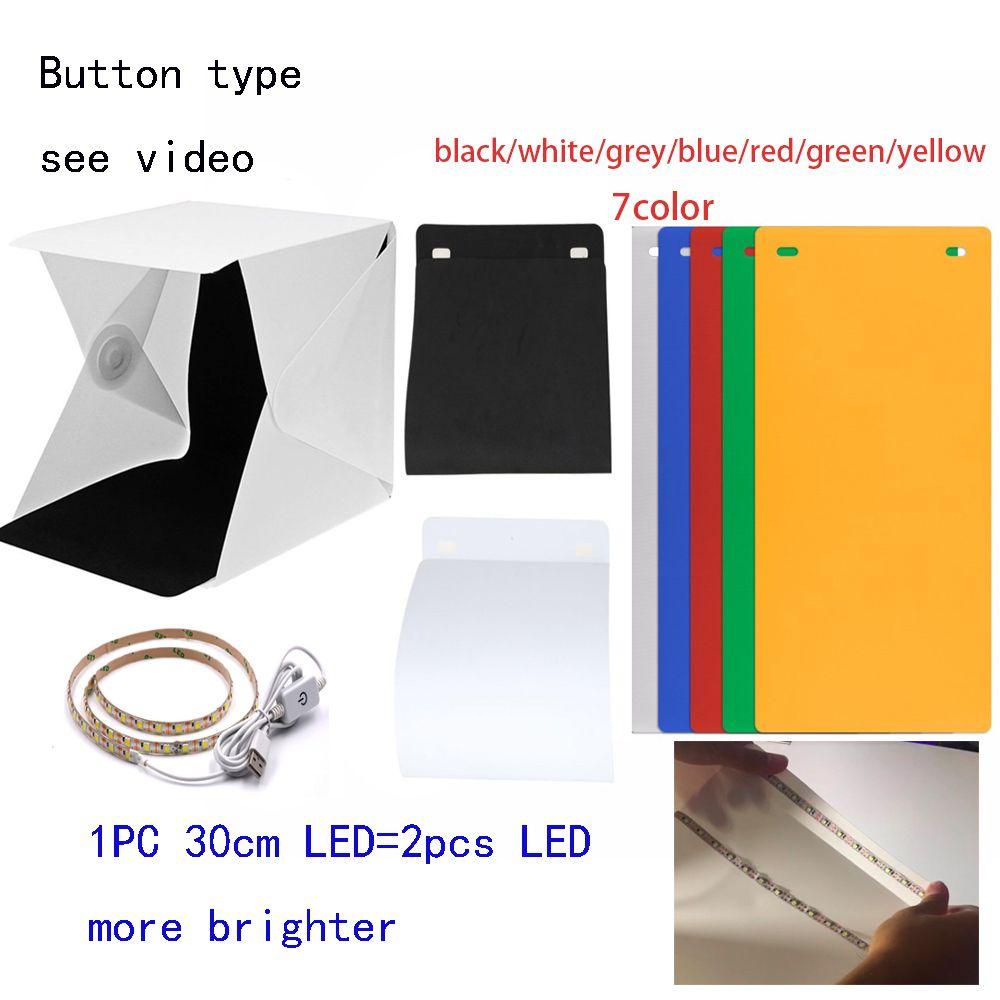 New Design <font><b>Fixed</b></font> by Button 2 LED Line Mini Lightbox Studio Photo Photography Tent Kit with Black White Backgrond USB LED light