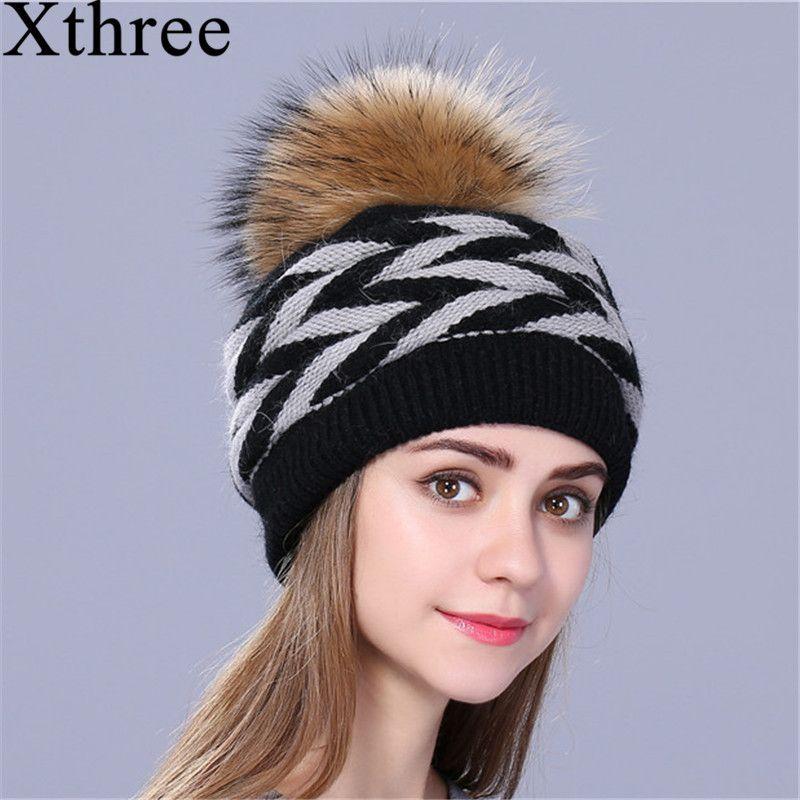 Xthree двухэтажные кролик Мех ЖИВОТНЫХ вязаная зимняя шапка для женщин Натуральный мех Pom Hat Женская шапка для девочки skullies шапочки
