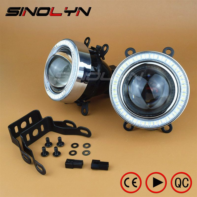 SINOLYN Waterproof Angel Eyes Fog Light HID Lamp Car Projector Lens Bixenon Bifocal Driving Lamps Universal Retrofit DIY 2.5 3.0