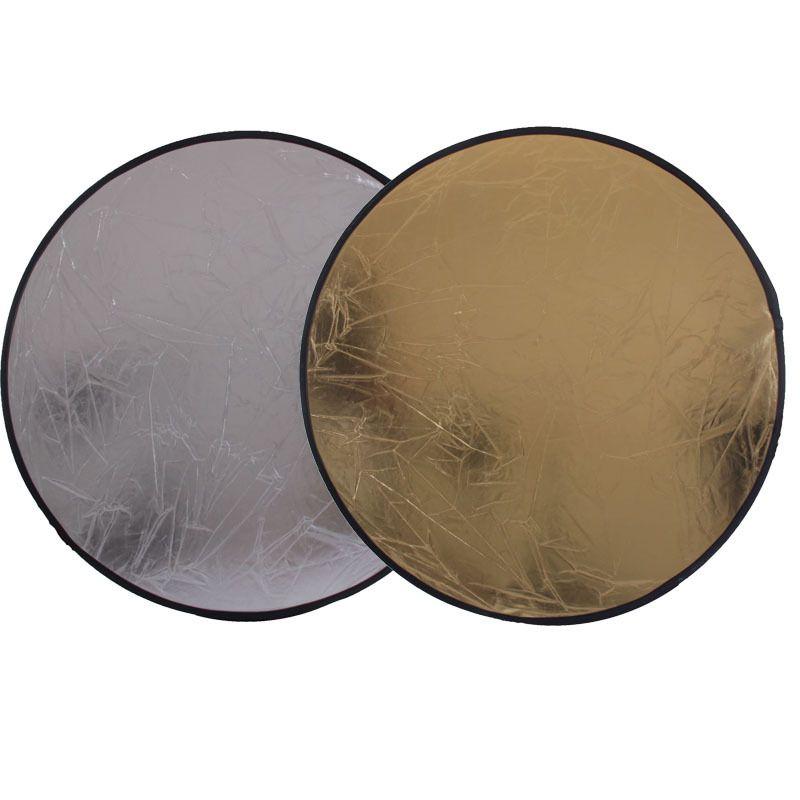 2 en 1 60 CM 23 pouces rond Flash Studio pliable réflecteur disque léger argent or Riflettore gros réflecteur