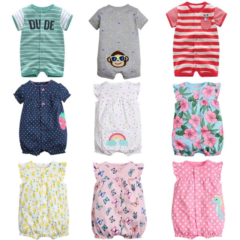 Brand 2017 Summer Baby Rompers Short Sleeve Baby Girls Clothing Kids Jumpsuits Newborn Baby Boy Clothes Roupas  vestidos