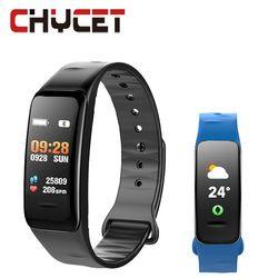 2018 pulsera inteligente C1s Color pantalla impermeable wristband monitor de ritmo cardíaco presión arterial Fitness tracker banda