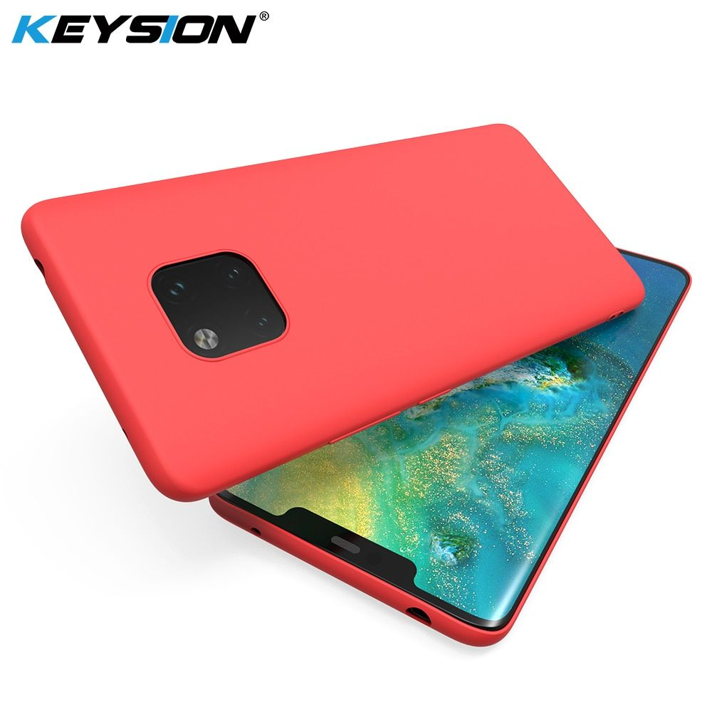 KEYSION Original Thin Liquid Silicone Case for Huawei Mate 20 Pro Gel Rubber Phone Cover Protective Case for Huawei Mate 20