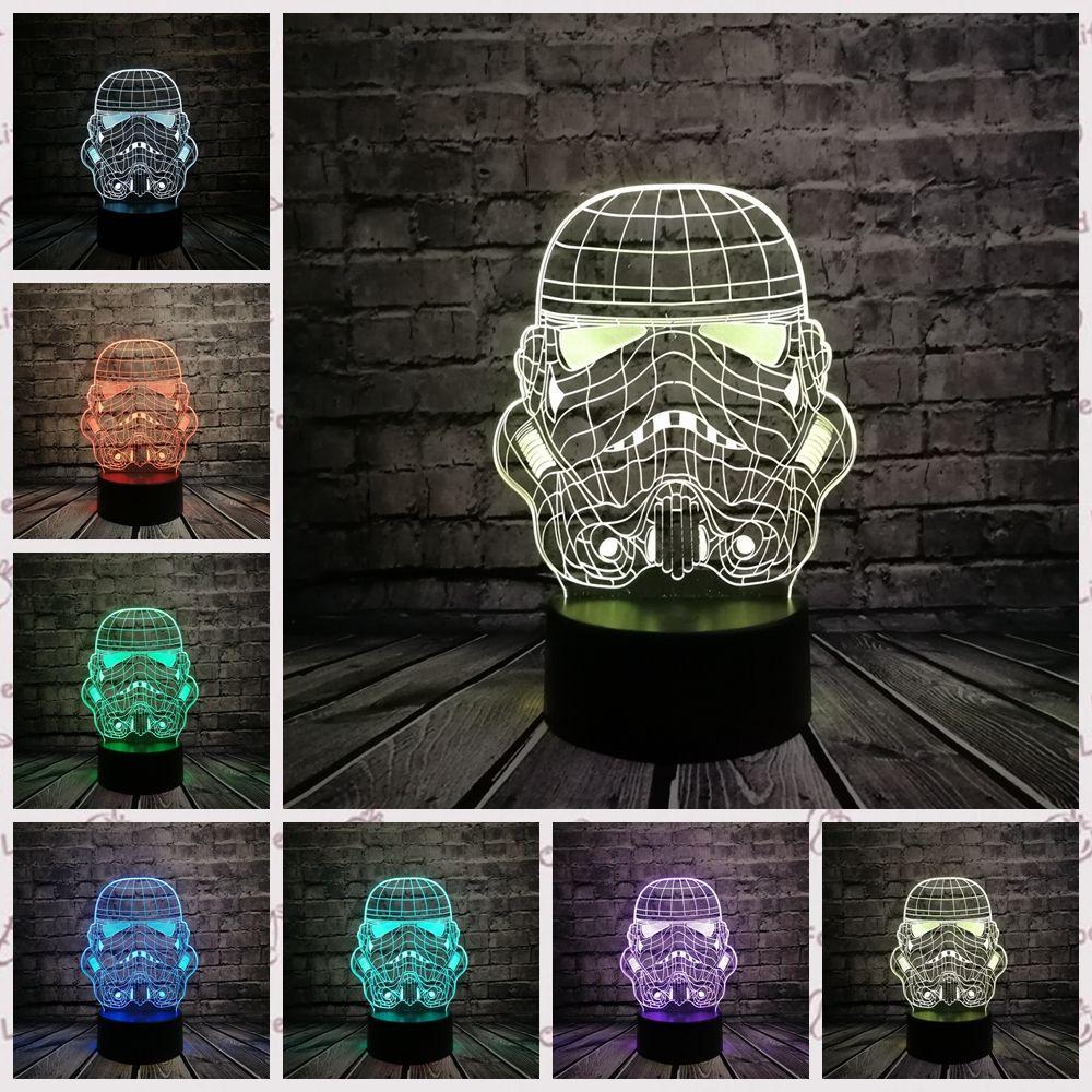 Lampe 3D Star Wars tempête chevalier Trooper soldat blanc 3D jouet USB LED veilleuse bande dessinée fête décor éclairage lampara enfants cadeau
