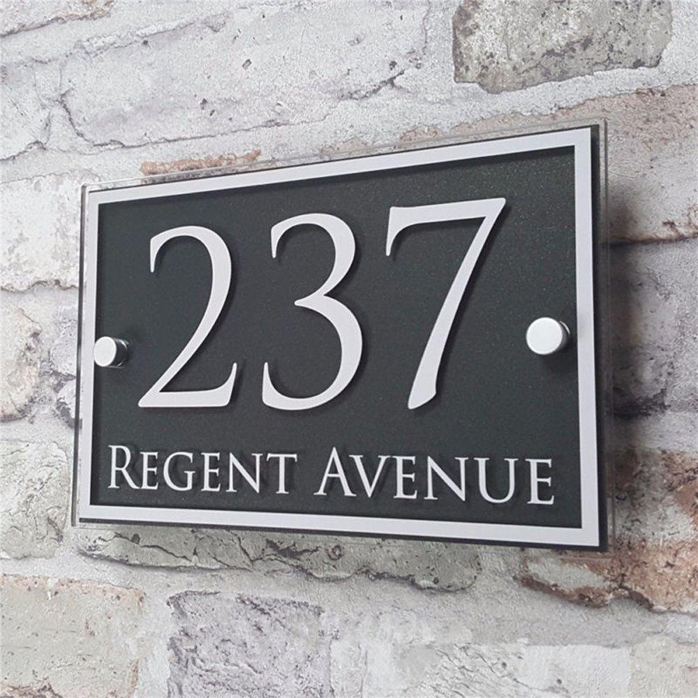 Personnalisé acrylique porte numéro maison signe appartement rue adresse effet verre vinyle autocollant