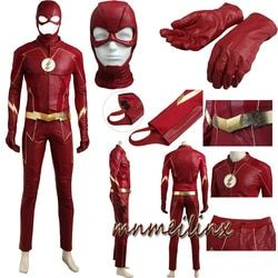 2017 The Flash Cosplay Barry Allen Superhero Costume Halloween Outfit Adult Men Suit all Accessories