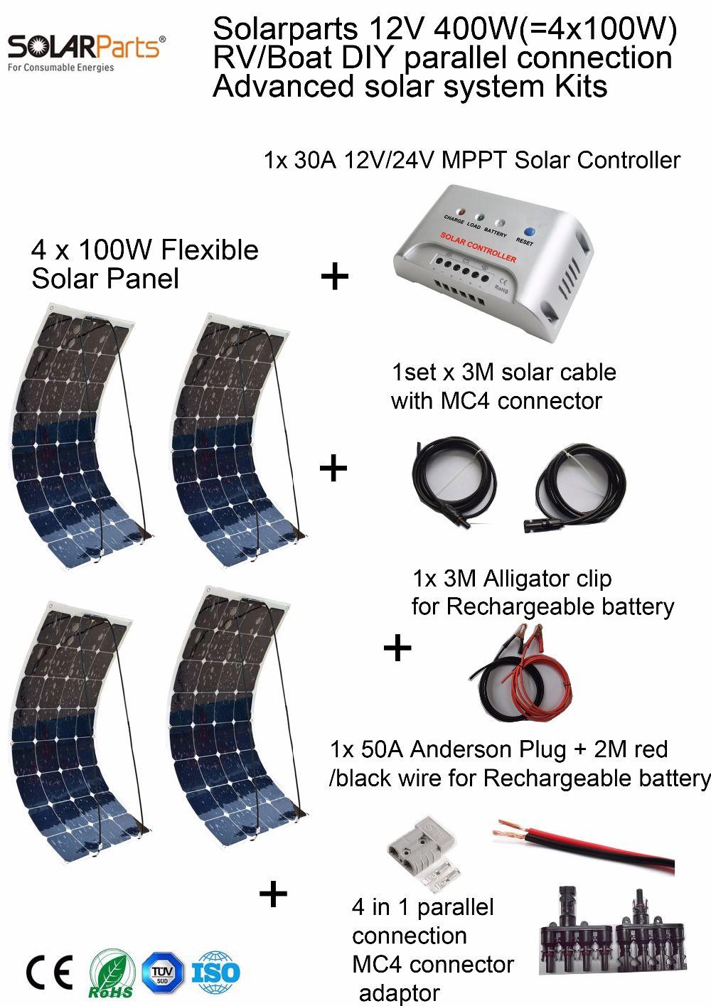 Solarparts 400 Вт DIY RV/морской Наборы Солнечный Системы 4X100 Вт гибкие солнечные панели 12 В, 1 x30a MPPT контроллер Набор кабелей недорого.
