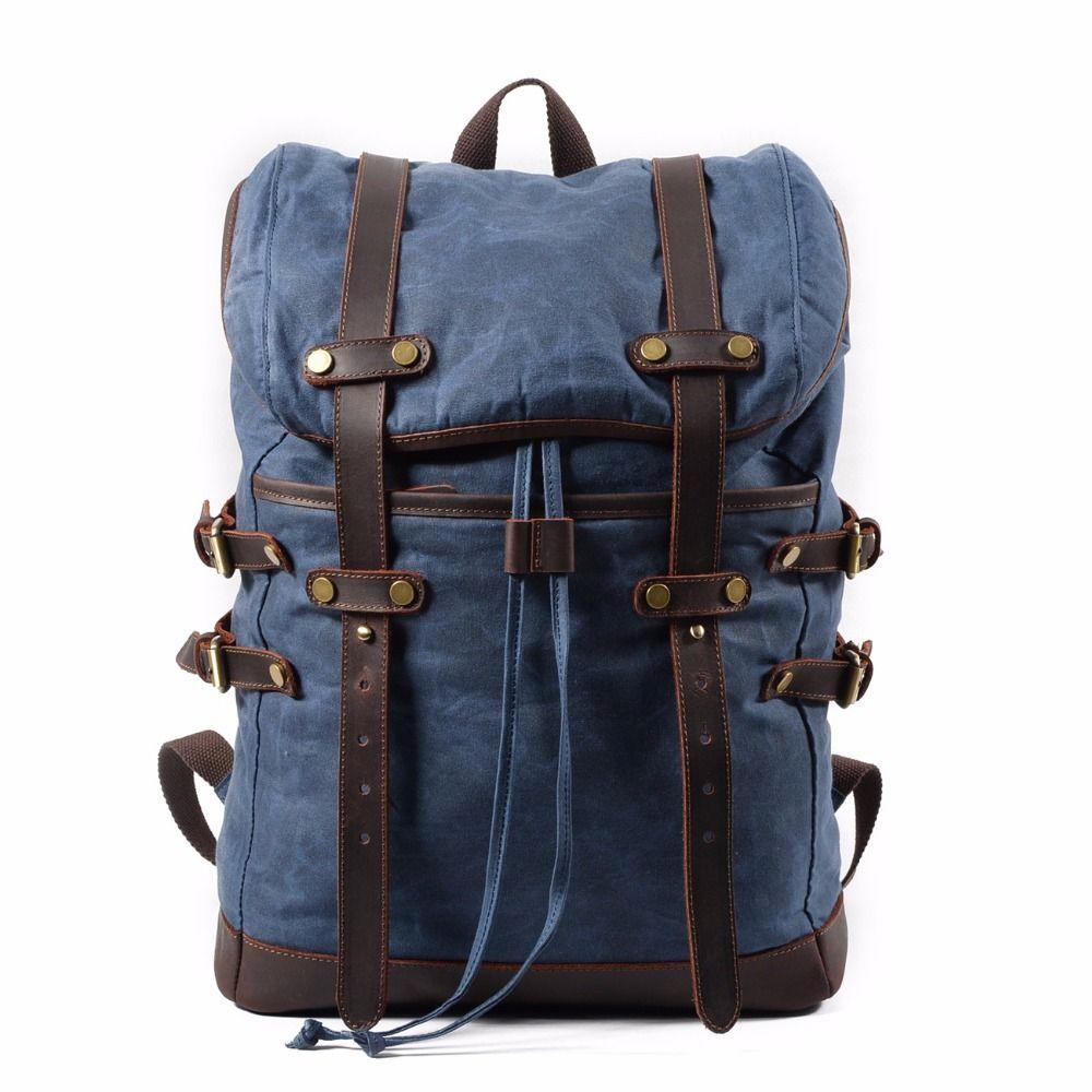 M133 Fashion Backpack Leather Canvas Men Backpack School Bag Military Backpack Women Rucksack Male Knapsack Bagpack Mochila New