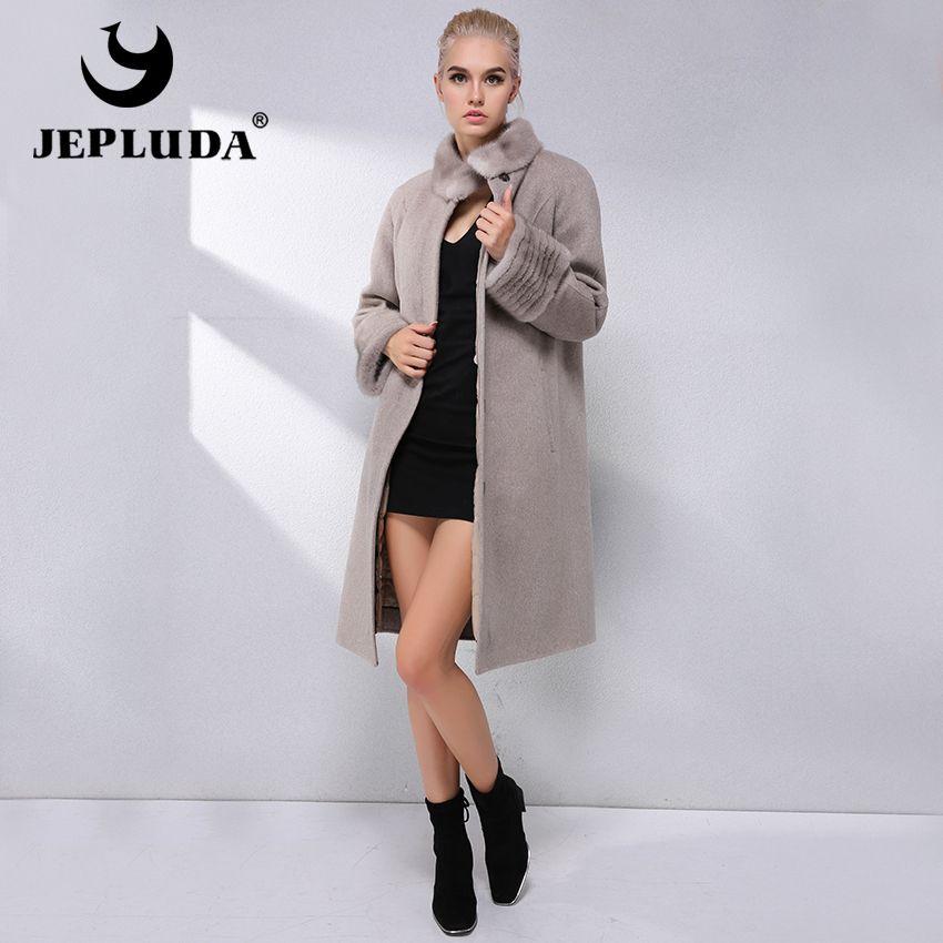 JEPLUDA Fashion Cashmere Coat 90% Wool Blend Winter Real Fur Coat Women Collar With Mink Fur Lining Removable Real Fur Jacket