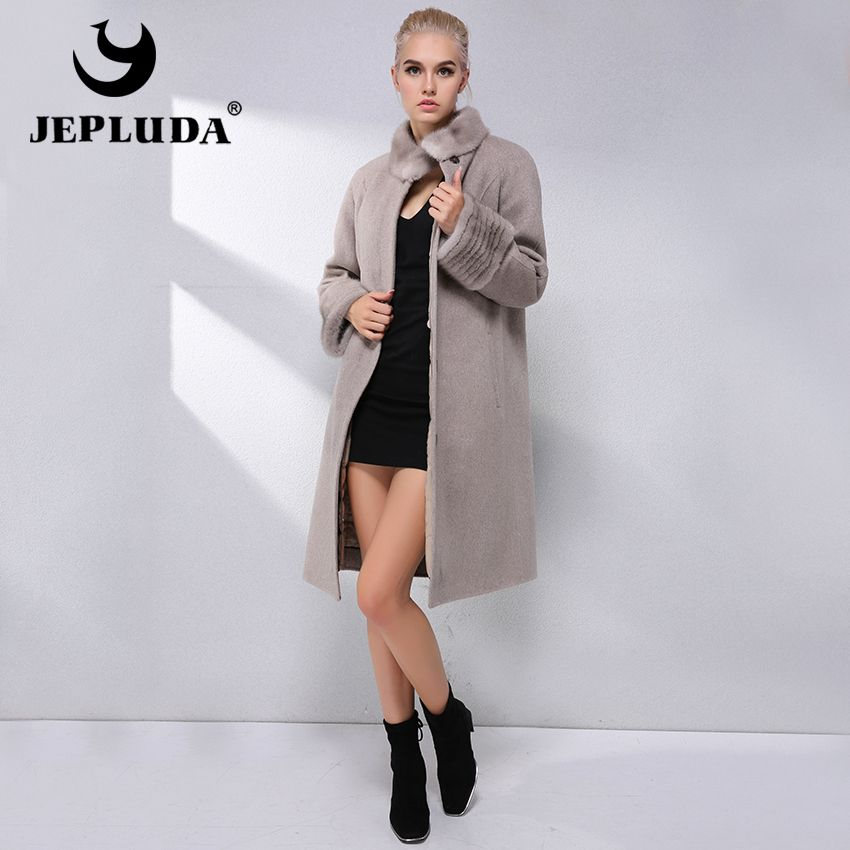 JEPLUDA Fashion Cashmere Coat 90% Wool Blend Winter Real Fur Coat Women Collar With Mink Fur Lining Removable Real Fur Jacket