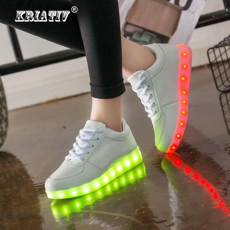 KRIATIV <font><b>Luminous</b></font> Led Neon Sneakers Light up Flashing Trainer Flasher glowing sneakers White <font><b>Luminous</b></font> Shoe with usb for Boy&Girl
