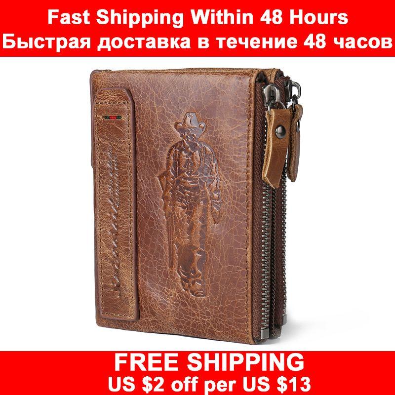 JINBAOLAI HEIßER Echte Crazy Horse Rindsleder Männer Brieftasche Kurze Geldbörse Kleine Vintage Brieftasche Marke Hohe Qualität Designer