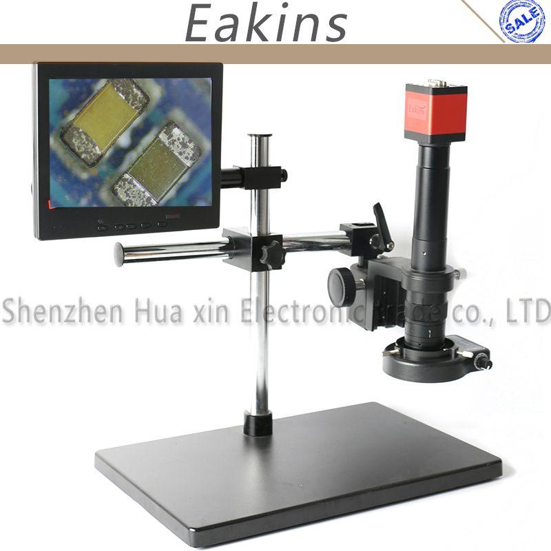 13MP 720P HDMI VGA Industry Video Microscope Camera+Big Boom Stand Universal Bracket+180X 300X C-MOUNT Lens+144 LED Light+8