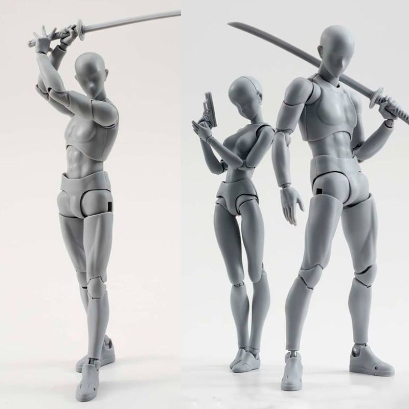 14cm artist Art painting Anime figure SHF Sketch Draw Male Female Movable body chan joint Action Figure Toy model draw Mannequin