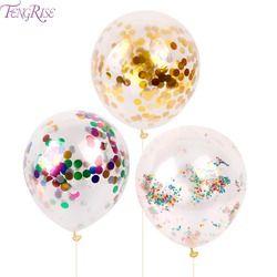 FENGRISE 10 pcs 12 pouces Ballon Confettis Romantique Décoration De Mariage Mousse D'or Clair Confettis Fournitures Ballons de Fête D'anniversaire