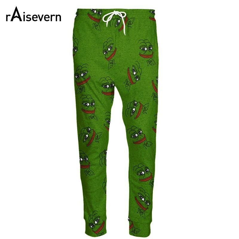 Raisevern Fashion 3D Pepe The Frog Joggers Pants Men/Women Funny Cartoon Sweatpants <font><b>Trousers</b></font> Elastic Waist Pants Dropship