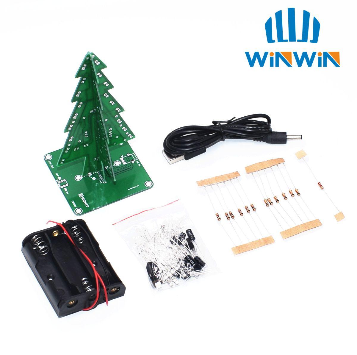 Dreidimensionale 3D Weihnachten Baum LED DIY Kit Rot/Grün/Gelb LED-Blitz Schaltung Kit Elektronische Spaß Suite