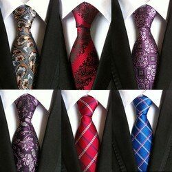 100% silk Thick cloth paisley tie for mens neckties designers fashion men ties 8cm navy and red striped tie wedding dress