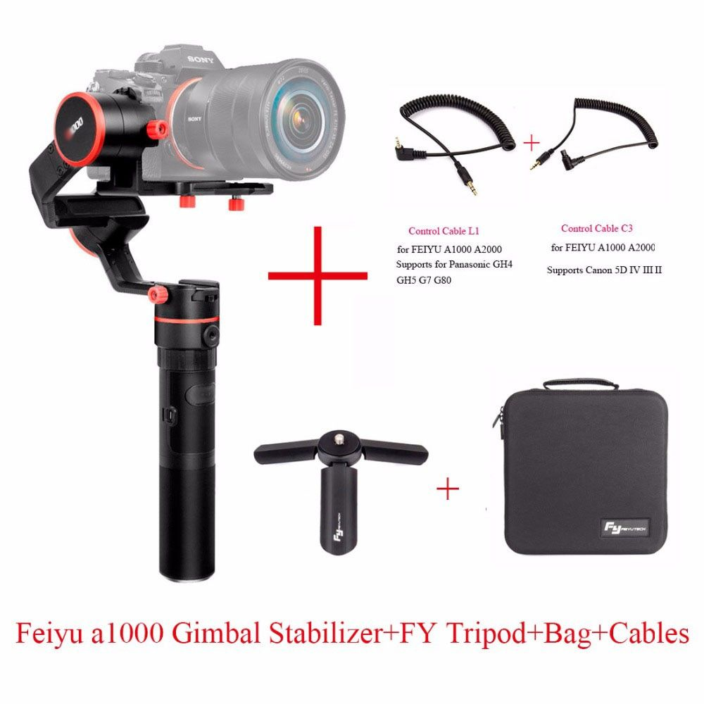 FeiyuTech Feiyu A1000 3 Axis Handled Gimbal Stabilizer for a6500 a6300 iPhone 7 Plus 8 Plus,Sumsung GoPro Hero 5,six choices