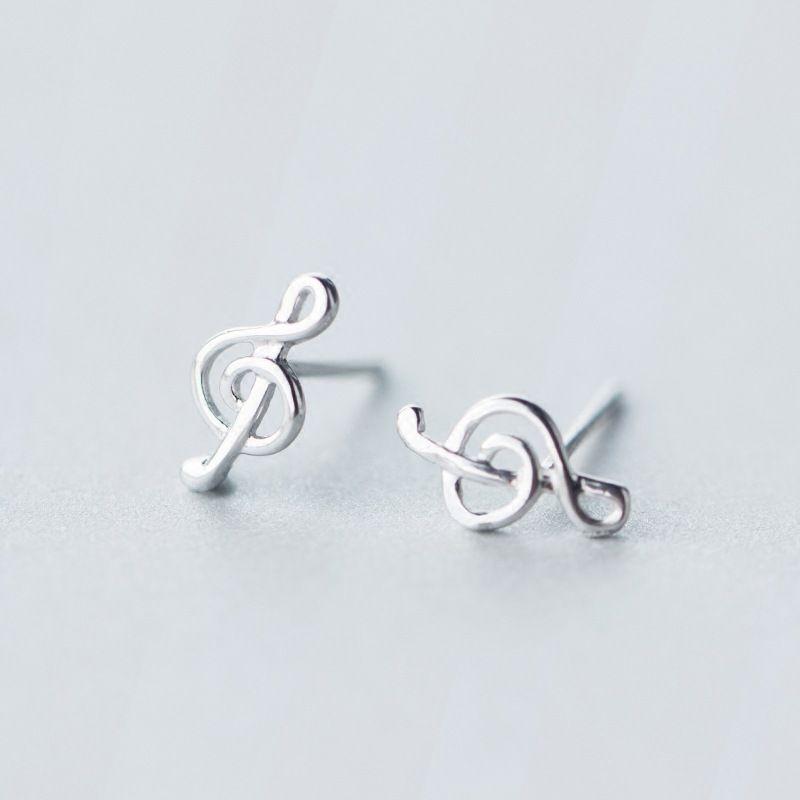 Petit grêles boucles d'oreilles 1 paire Réel. 925 Bijoux En Argent Sterling Treble clef et Musique notes de musique boucles D'oreilles GTLE918