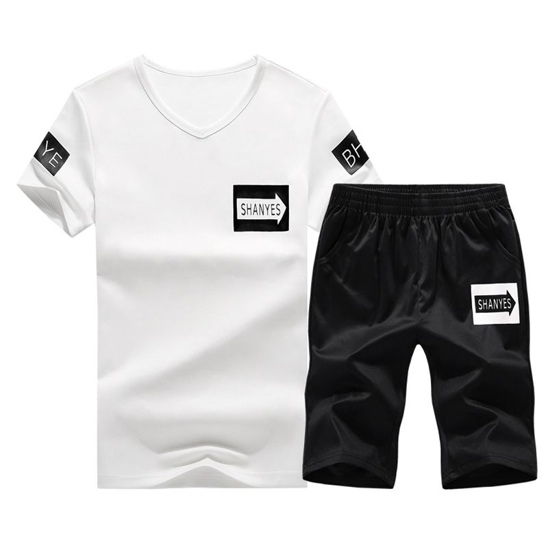 JOOBOX Summer Men Causal Suits Short Sleeve t shirt 2PCS Sweatsuit + Shorts Fashion Tracksuit Men Sportsuits T-shirt + Shorts