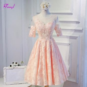 Fmogl New Arrival Fashion Scoop Neck Half Sleeves Lace Homecoming Dresses 2019 Graceful Appliques Graduation Dresses Part Gown