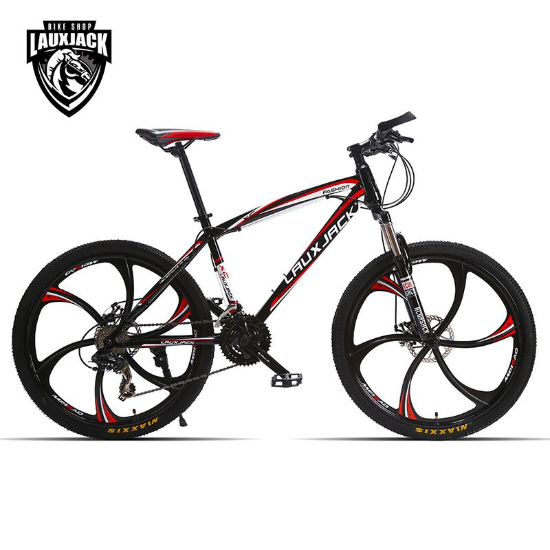 LAUXJACK Mountain bike <font><b>steel</b></font> itself 24 speed Shimano mechanical disc brakes 26 alloy wheels