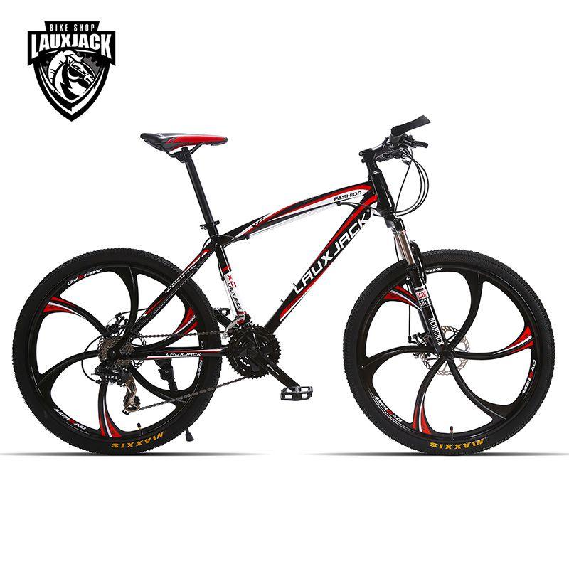 LAUXJACK Mountain bike steel itself 24 speed Shimano mechanical disc brakes 26 alloy <font><b>wheels</b></font>