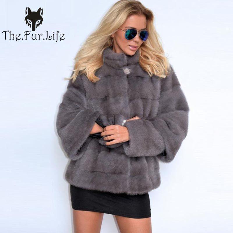 Luxus Ganze Haut Real Nerz Mäntel Weibliche Hülsen Abnehmbare Mode Schlanke Nerz Jacken Stehkragen Warme Natürliche Pelz mantel