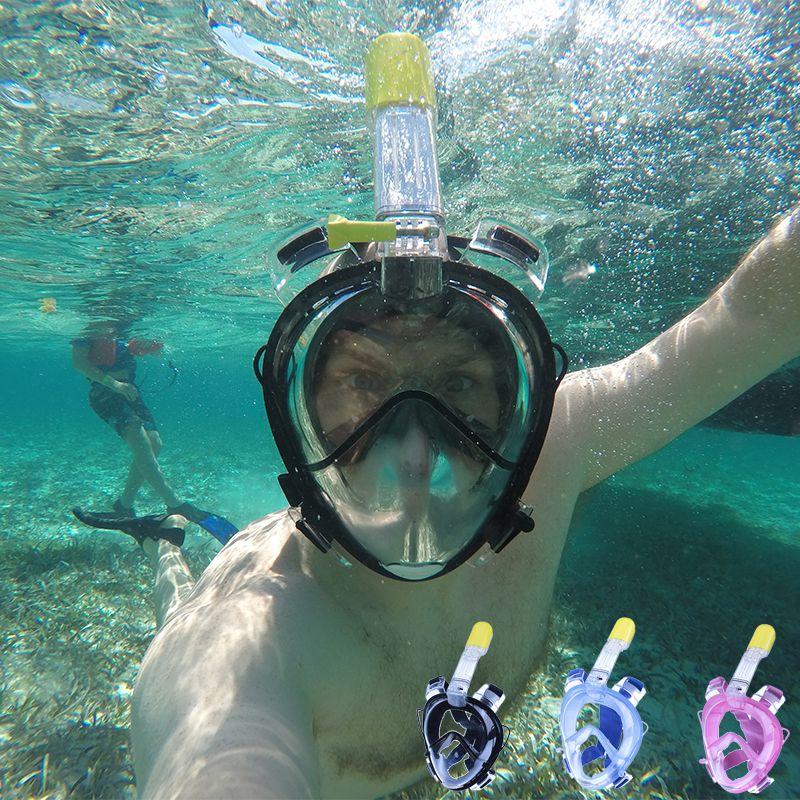 2017 Bajo El Agua Buceo Máscara de la Cara Llena máscara de Snorkel Vías Respiratorias impermeable Natación Snorkel máscaras de formación