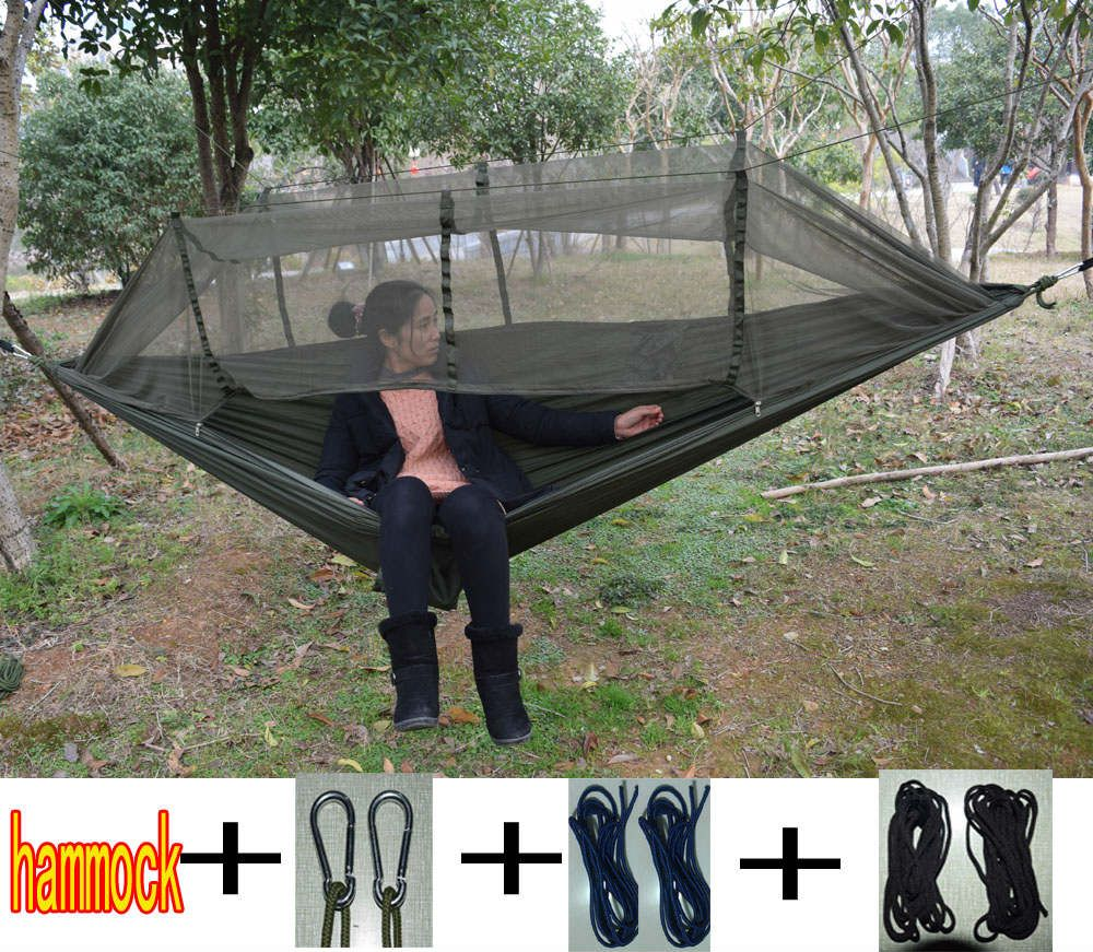 2017 Newest Fashion Handy Hammock Single Person Portable Parachute Fabric Mosquito Net Hammock for Indoor Outdoor Camping Using