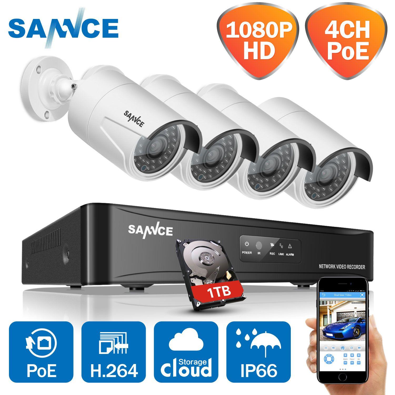 SANNCE 4CH HD 1080 P HDMI P2P POE NVR 1 TO HDD Système de Surveillance Vidéo De Sortie 4 pièces 2.0MP IP Caméra de VIDÉOSURVEILLANCE De Sécurité À Domicile Kits