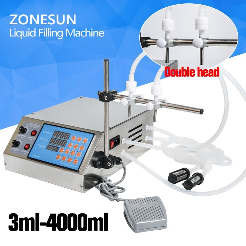 ZONESUN Liquid Filling Machine Electric Digital Control Pump 0.5-4000ml for perfume,water,juice,essential oil with 2 heads