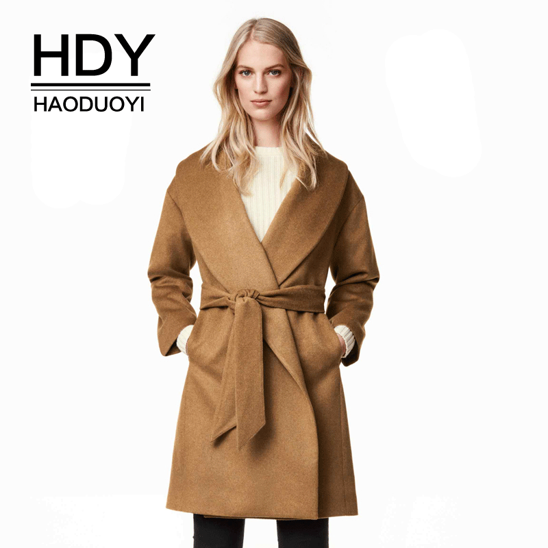 HDY Haoduoyi 2017 Winter New Fashion Warm Midi LongTrench Coat OL Turn Down Collar Loose Blet Coat Casual Chic Women Outwears
