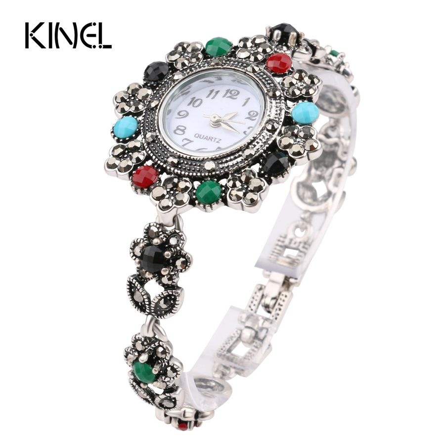 Retro Look Exquisite Decorative Watch For Women Floral Crystal Bracelets For Women Silver Plated Turkey Jewelry