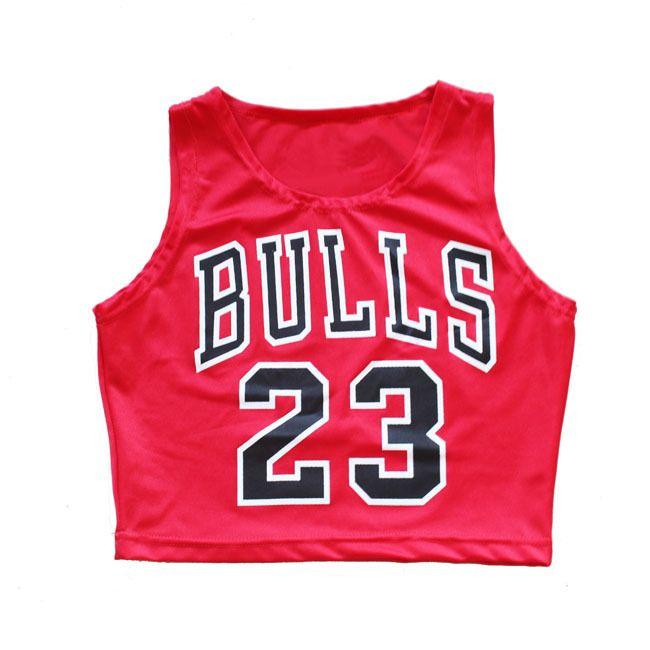 bulls 23 vest , bulls 23 shirt ,bulls 23 jersey, Crop Top Bulls 23 vest T-shirt women clothes nylon have elastic Size:S-L