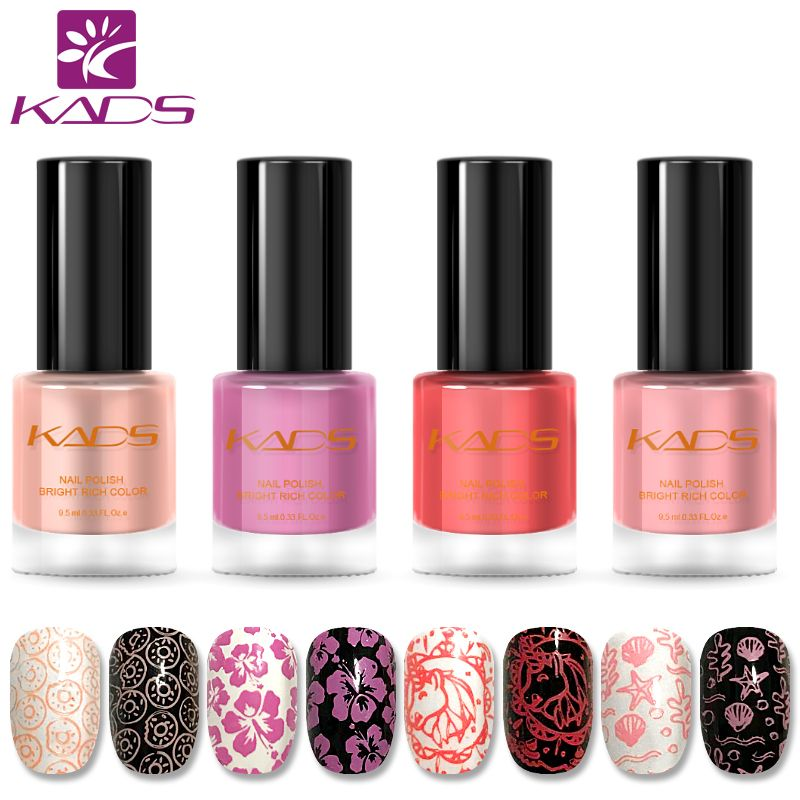 KADS New Arrival Pink Nail Polish 4PCS/SET Nail Stamping Polish Set Two In One Nail Polish Stamping Nail Lacquer