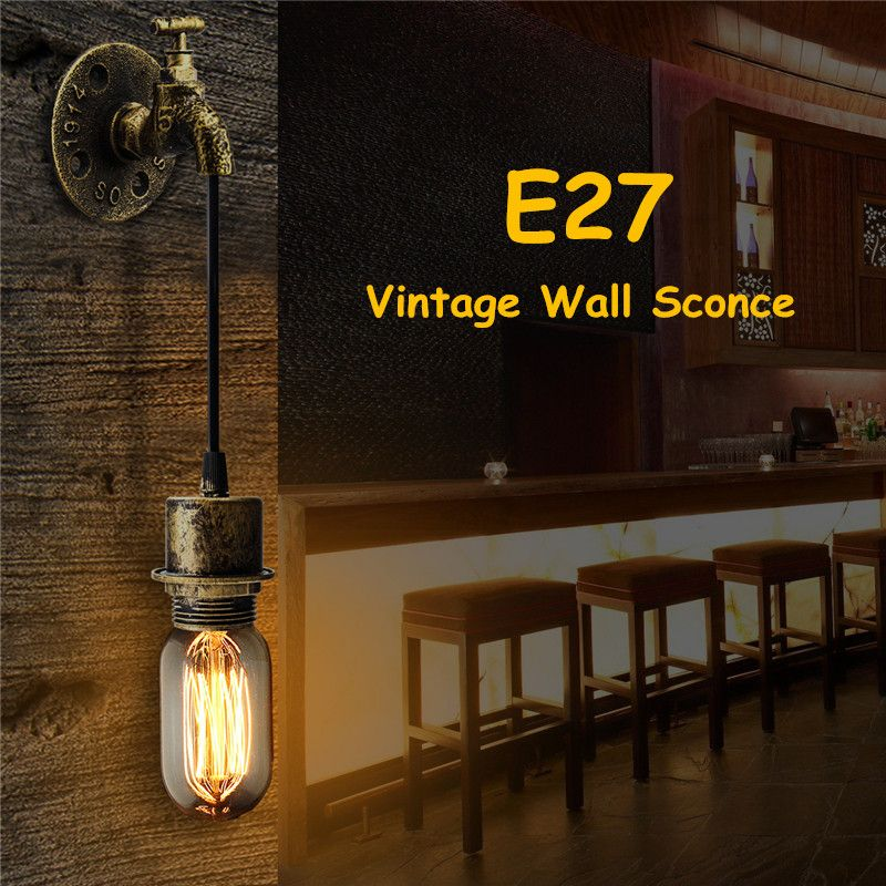E27 Vintage Industrial Rustic Wall Sconce Wall Light Fixture Fitting Water Pipes Style 5
