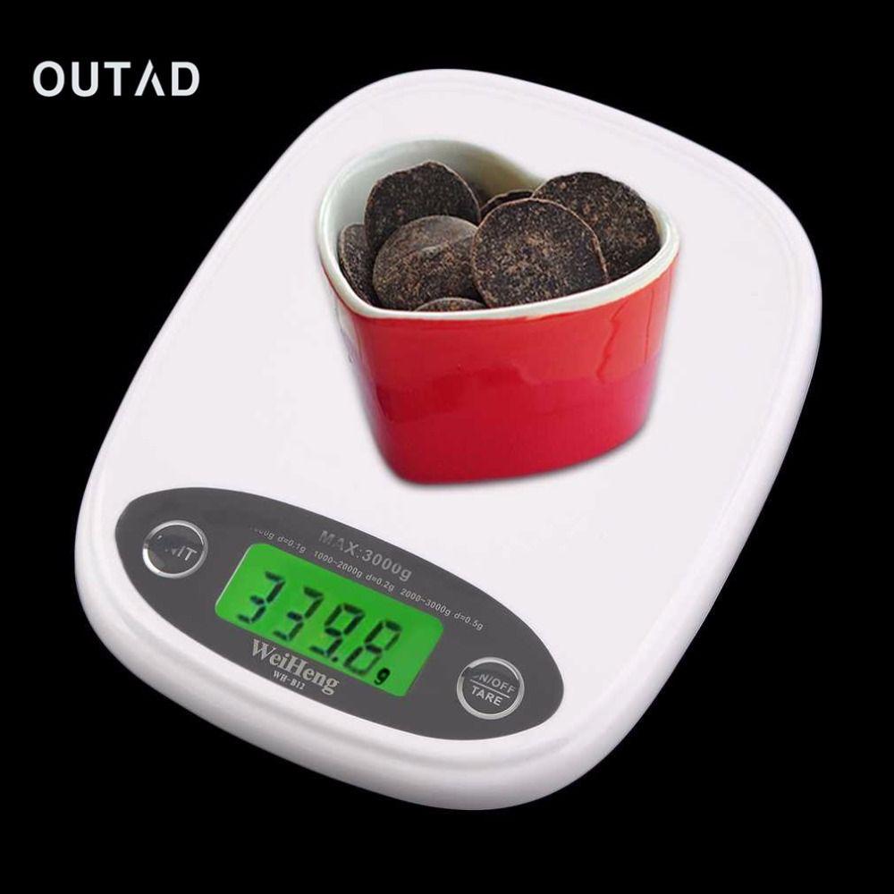 OUTAD LCD 3 kg/0.5 Numérique Poids Échelle de Régime de Nourriture Blanc Mince Électronique précis Cuisine Outils De Mesure Pratique Accessoires