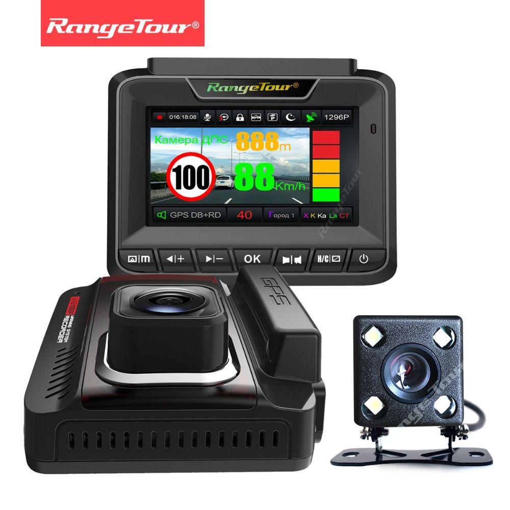 Russia 3 in 1 Radar Detector GPS Dual Lens Dash Cam Video Recorder FHD 1296P LDWS Car Camera DVR Auto Registrar Anti Radar Data