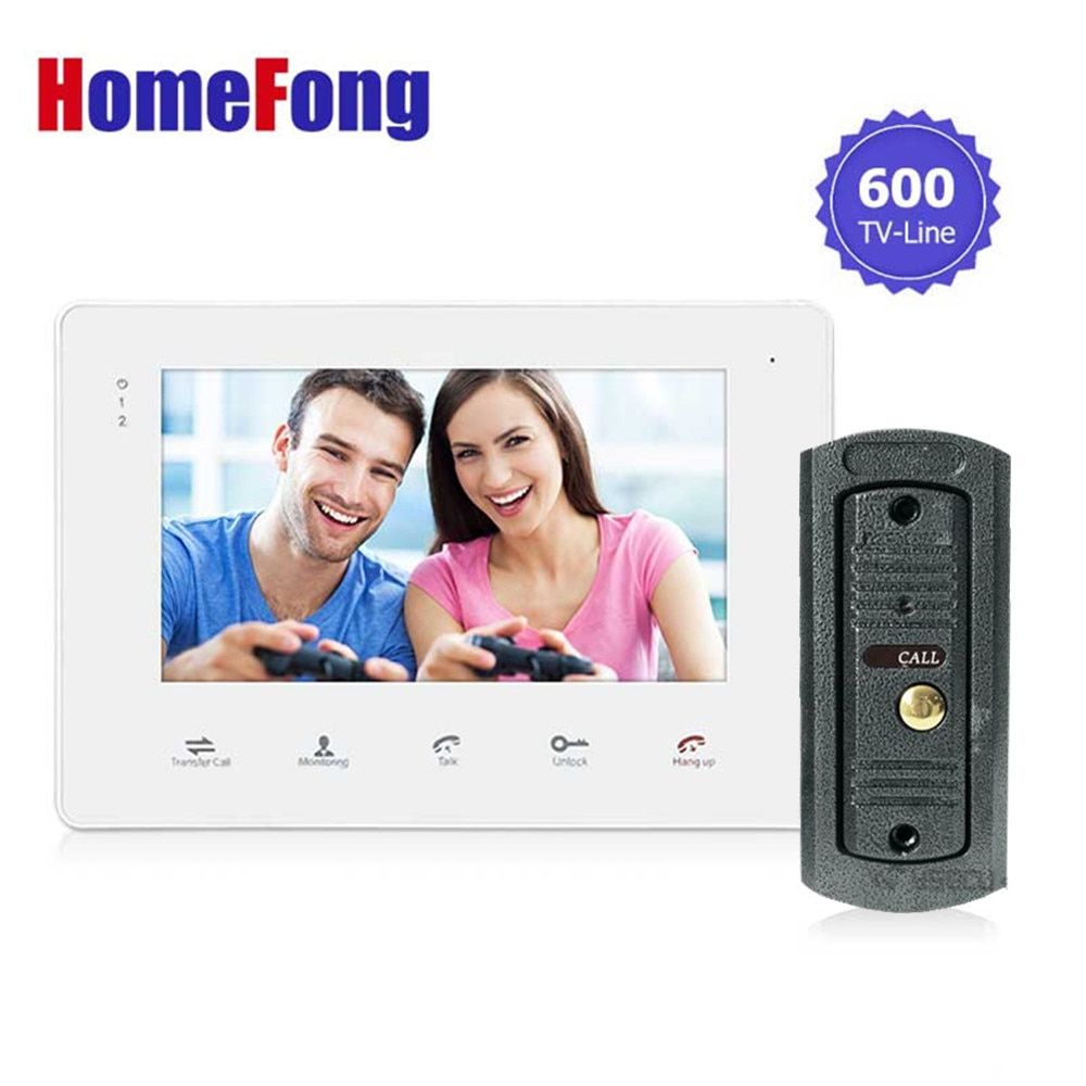 Homefong 7 Inch Wired Touch Video Door Phone Intercom System Doorbell Free 600TVL Monitoring Unlock Recording SD Card Support