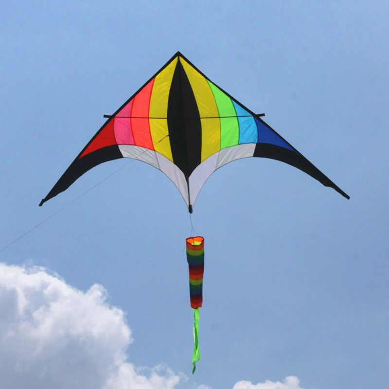 free shipping high quality 3m rainbow kite reel set handle kites tail triangle drachen kites-for-adults sail wind spinner fish