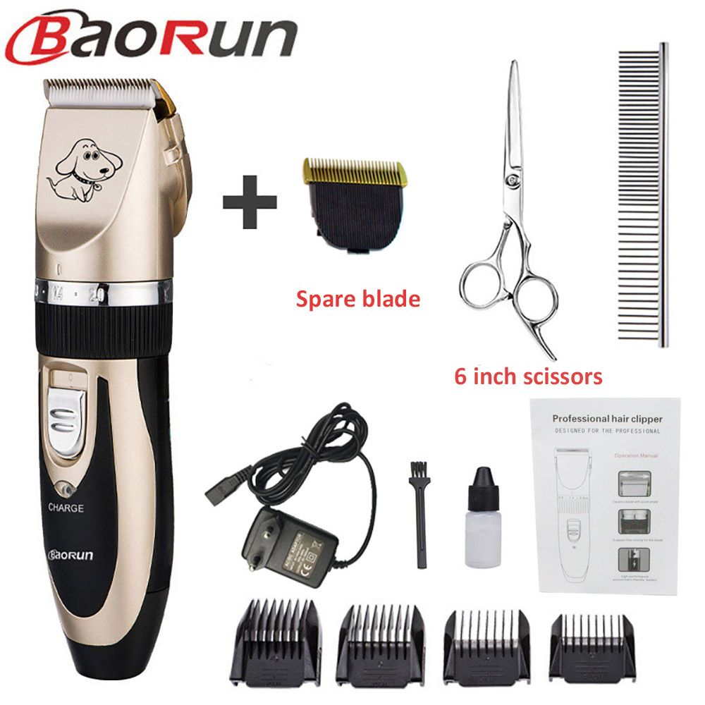 Baorun Professional Pet Dog Hair Trimmer Animal Grooming Clippers Cat Cutter Machine Shaver Electric Scissor Clipper 110-240V AC