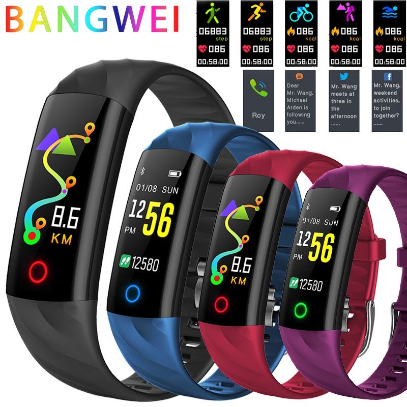 BANGWEI Women Smart Watch Men IP68 Waterproof Sport Fitness tracker Multifunctional Smartwatch LED Color Touch Watch Montre homm