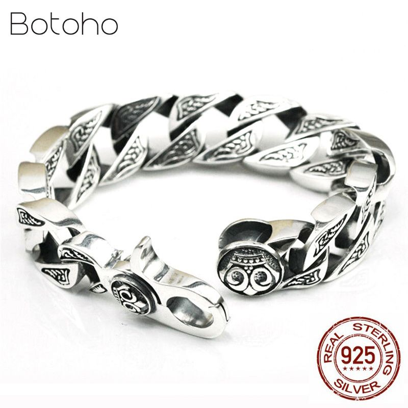 Reine Handgemachte Männer Schmuck 100% 925 sterling Silber Armband Schwarz Retro Schwere Thai silber Mode Schmuck Skeleton Mann Armbänder